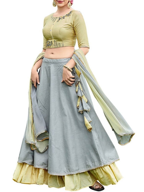 Attractive Grey And Olive Lehenga With Price