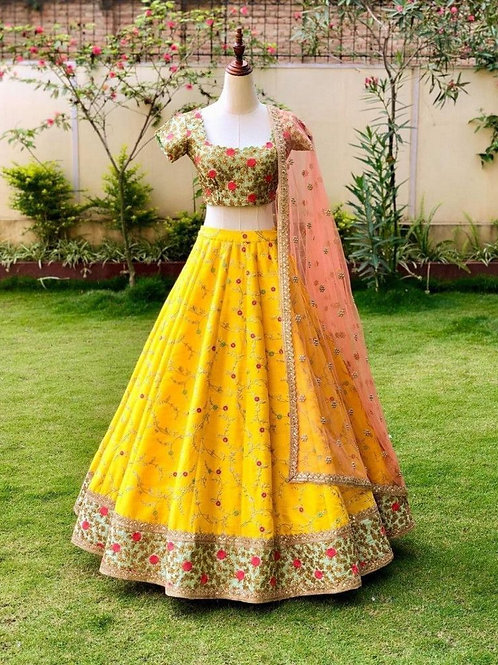 Present Yellow Color Silk Lehenga Choli Online