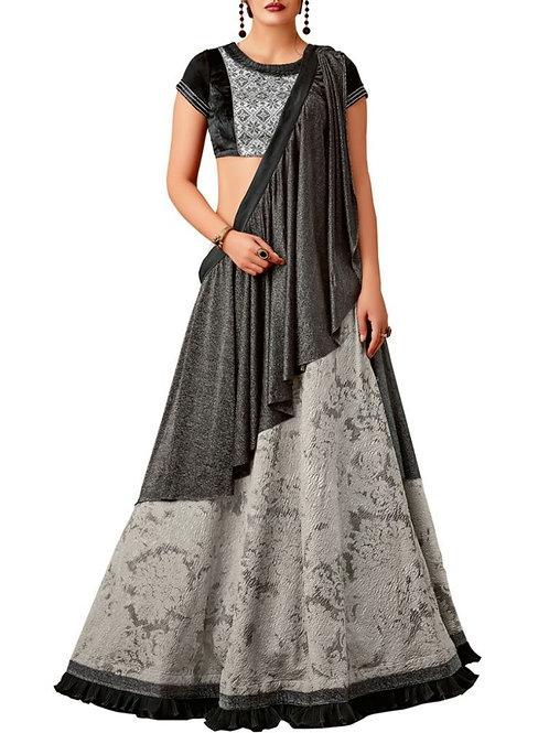 Fashionable Grey Color Bridal Lehenga