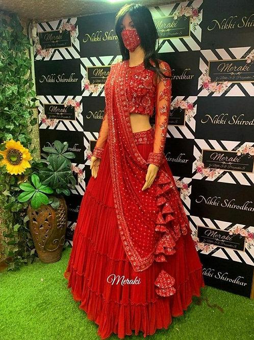 Attractive Red Georgette Online Lehenga Choli