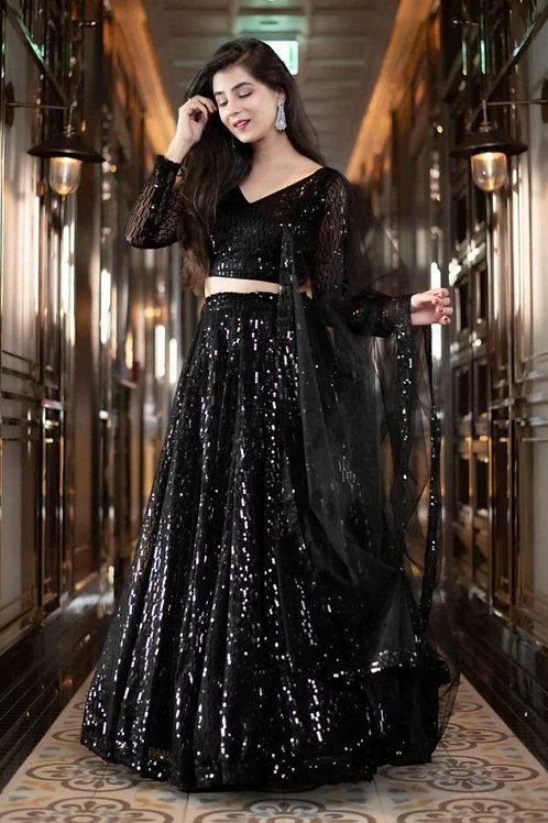 Agreeable Black Color Net Lehenga Choli