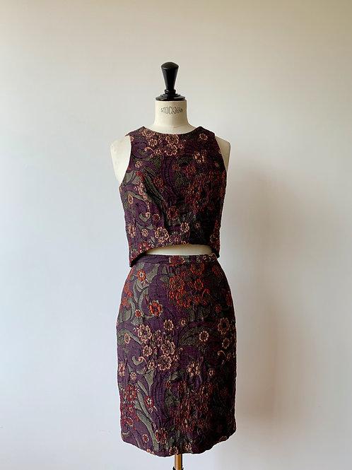 Pencil Skirt + Crop Top Jacquard Set