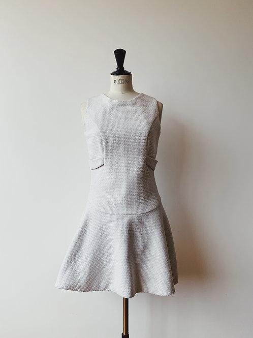 Tweed Short White Dress