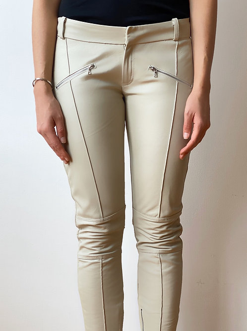 Biker leather pants: off-white