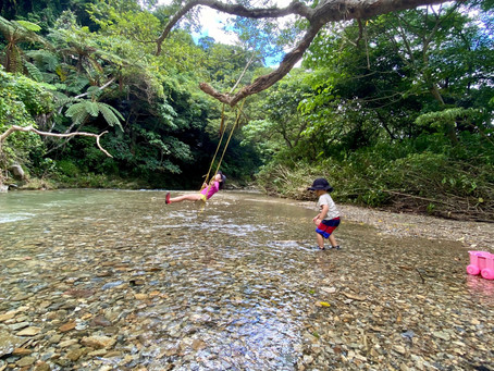定休日は源河川に川遊びへ
