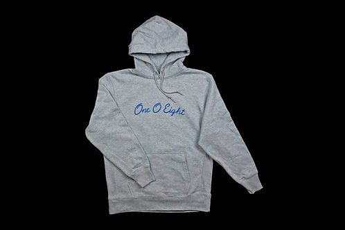 108 -One O Eight- hoodie【gray × light blue】