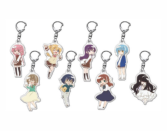 "set of 8 ""Comic Girls"" Fortune Acrylic Key Chain Mini Chara Ver."