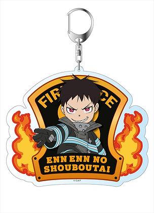 """Fire Force"" Acrylic Key Chain with Background Shinra Kusakabe"