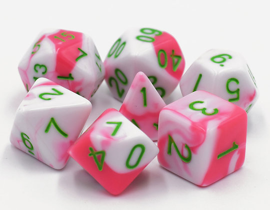 set of 7 (Pink+White) Blend color dice set