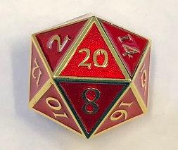 Giant D20 Gold w/Red enamel Dwarven Metal