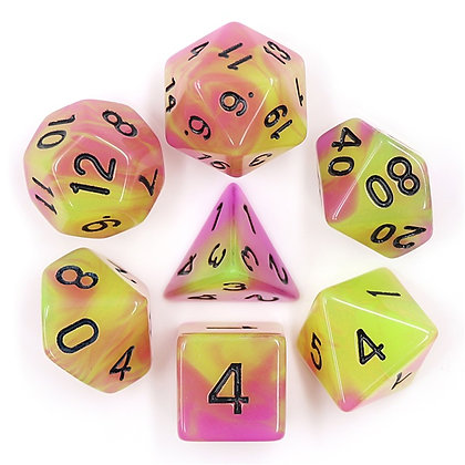 set of 7 purple Green Glow in the dark dice