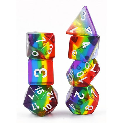 set of 7  Polyhedral transparent rainbow dice