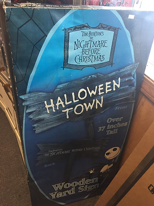 Nightmare Before Christmas Halloween Town Wooden Yard Sign