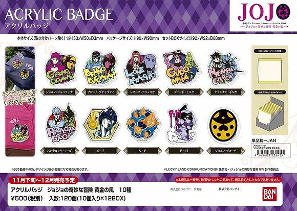 """Acrylic Badge """"JoJo's Bizarre Adventure Golden Wind"""" SET OF 10"""
