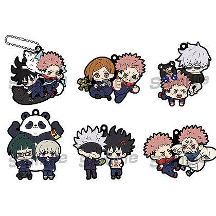 """Set of 6 Rubber Mascot BuddyColle """"Jujutsu Kaisen""""  by Megahouse"""