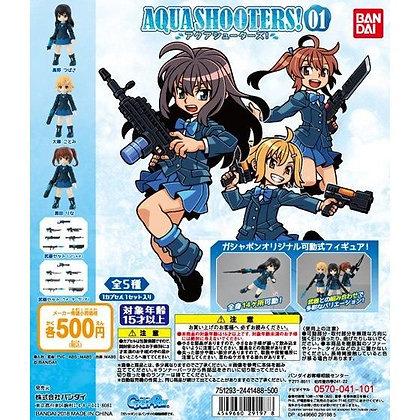 """Set of 5 BANDAI original IP """"AQUA SHOOTERS!"""" vol.1 deformed figures"""