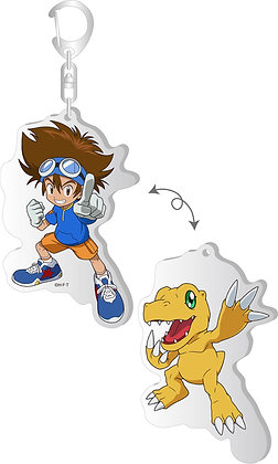 """Digimon Adventure:"" Changing Acrylic Key Chain Taichi & Agumon  by Brujula"