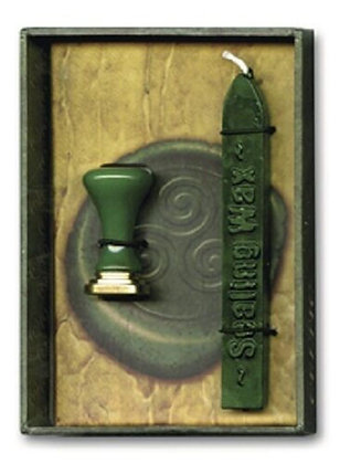 Celtic Green Triskele Sealing Wax Set Wiccan Pagan Stationery