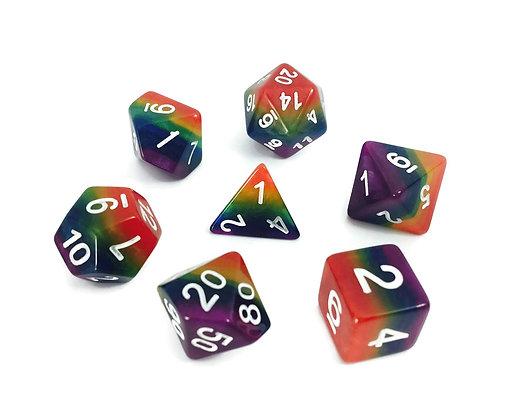 set of 7 Rainbow dice set