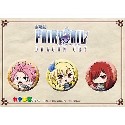 """Fairy Tail: Dragon Cry"" KanaChibi Can Badge Set Natsu & Lucy & Erza"