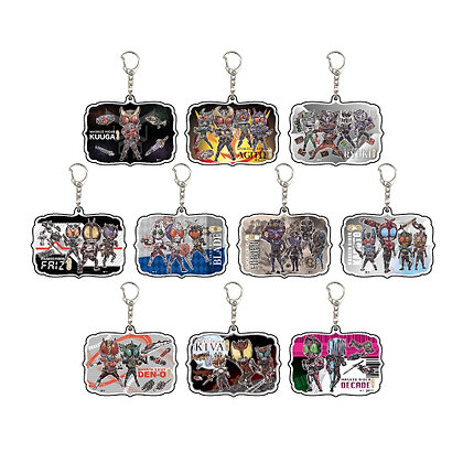 Set of 10 Acrylic Key Chain Heisei Kamen Rider 20 Titles Commemoration 01 Graff