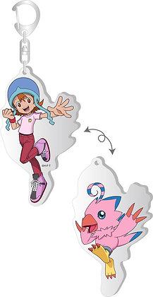 """Digimon Adventure:"" Changing Acrylic Key Chain Sora & Piyomon  by Brujula"