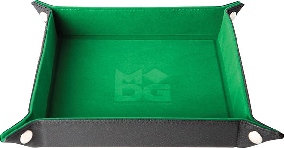Velvet Folding Dice Tray with Leather Backing: 10in x 10in Green