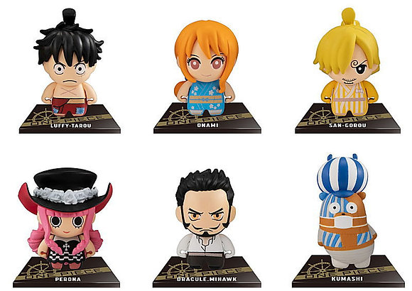 """Set of 6Bandai""""One Piece"""" ColleChara! One Piece 5 Mini Figure with Stand"""