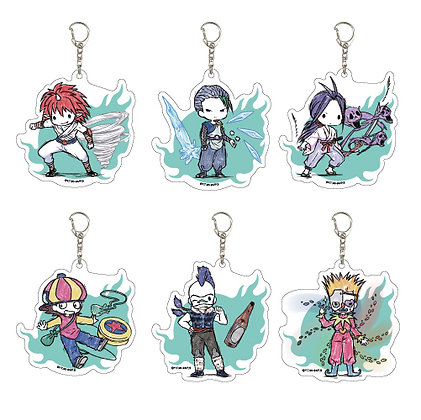 "Set of 6  Acrylic Key Chain ""YuYu Hakusho"" 05 Graff Art Design"
