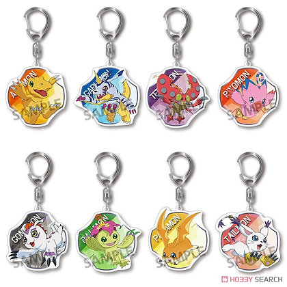 Set of 8Digimon Adventure: Trading Acrylic Keychain Key Ring Vol 2