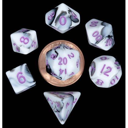7 COUNT MINI DICE POLY SET: MARBLE WITH PURPLE NUMBERS