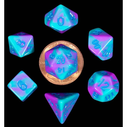 7 COUNT MINI DICE POLY SET: PURPLE AND TEAL WITH BLUE NUMBERS
