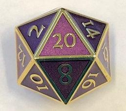 Giant D20 Gold w/Purple enamel Dwarven Metal