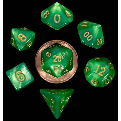 7 COUNT MINI DICE POLY SET: GREEN AND LIGHT GREEN WITH GOLD NUMBERS