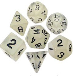 7 COUNT 16MM RESIN GLOW POLY DICE SET, CLEAR