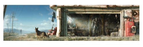 """Fallout 4 Key Art Wall Wrap Poster Panoramic 50"""" X 13"""" Iconic Scene From Game"""