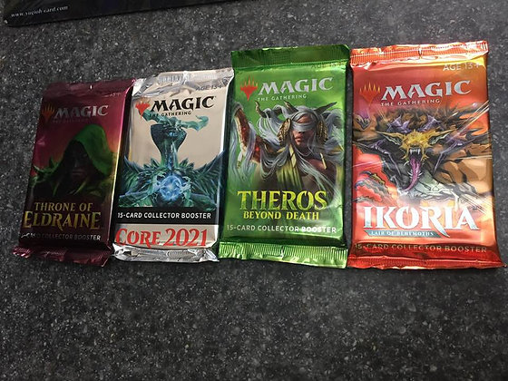 Magic Gathering Collector Booster:Throne Of Eldraine,Theros Beyond, IKORIA, M21