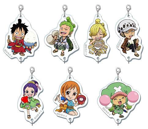 """set of 7""""One Piece"""" Wa no Syoku Tsunagaru Acrylic Charm"""