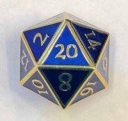 Giant D20 Gold w/Blue enamel Dwarven Metal