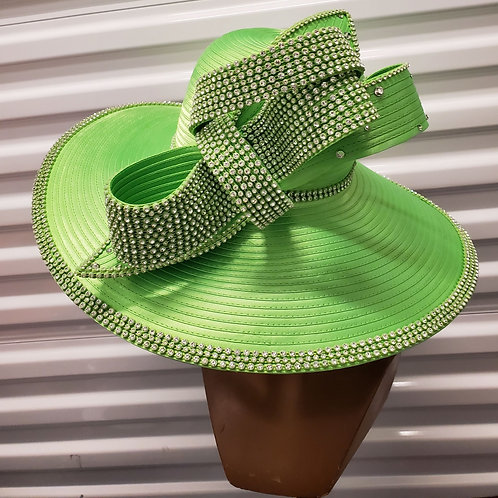 Lime green big brim hat