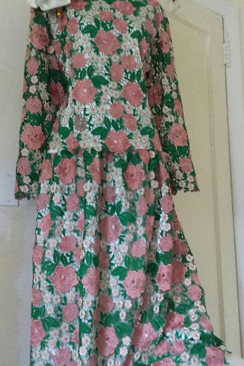 Multi color flower lace dress