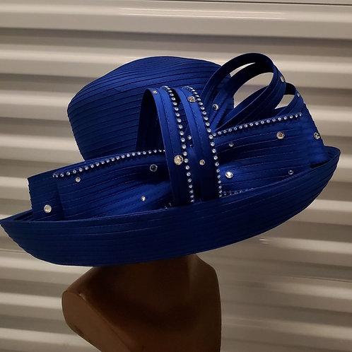 Royal blue big brim hat