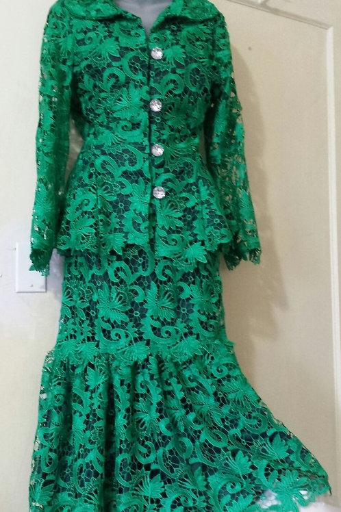0608 green lace dress 2 pcs