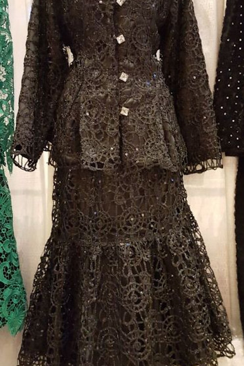 Blk lace dress 2 pcs