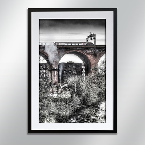 Stockport Viaduct and mill , Wall Art, Cityscape, Fine Art Photo