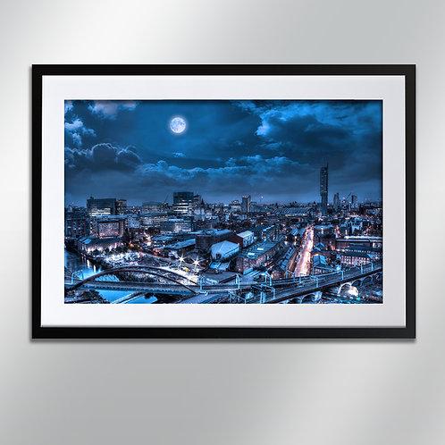 Manchester Blue Moon, Wall Art, Cityscape, Fine Art Photography