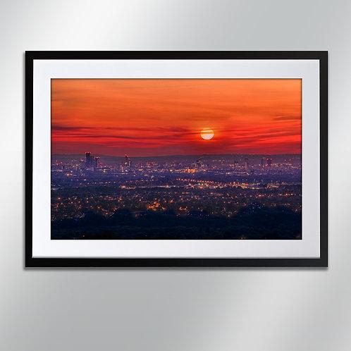 Manchester sunset Werneth Low, Wall Art, Cityscape, Fine Art Ph