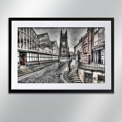 Stockport Market Hall and St Mary's, Wall Art, Cityscape, Fine Art Photography