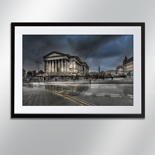 Liverpool Rain St Georges Hall  and Cathedral, Wall Art, Cityscape, Fine Art Ph
