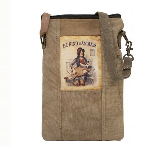 Be Kind to Animals - Recycled Military Tent - Crossbody Bag